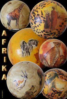 Nice Deko Leuchtkugeln mit AFRIKA Motiven Kleber etc erh ltlich im serviettenklebershop