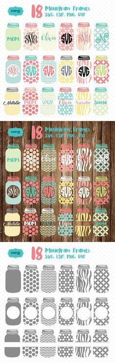 Mason jar monogram frames svg. Wedding Card Templates
