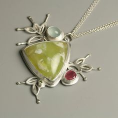 Prehnite Sprouting Vines Statement Necklace. Pink by fussjewelry