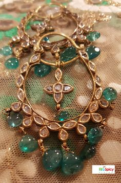 Indian Jewelry ---- Beautiful, chandelier, crescent shaped Mughal inspired earrings with uncut stones from Amrapali (Jaipur, India).