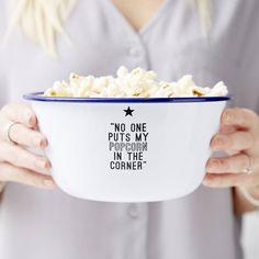 Sophia Victoria Joy Personalised Movie Quote Enamel Popcorn Bowl (1.155 RUB) ❤ liked on Polyvore featuring home, kitchen & dining, serveware, enamel bowl, enamel popcorn bowl and popcorn bowl