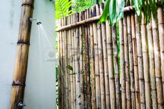 Picture of Tropical outdoor shower surrounded with bamboo walls stock photo, images and stock photography. Bamboo Wall, Outdoor Bathrooms, Shower Surround, Tropical, Stock Photos, Wood, Walls, Inspiration, Image