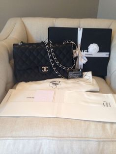 Found on ebay want want want Authentic Chanel Jumbo Classic Double Flap In Black Caviar With Silver Hardwear