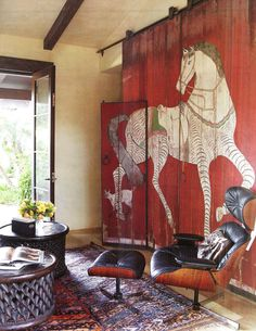 A Flippen Life: Sliding Doors (painted door with horse image)