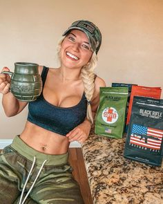 """Cami Mantilla on Instagram: """"Nothing better than enjoying some great coffee and knowing that a portion of the profits go to veterans, law enforcement, fire and fire…"""" Black Rifle Coffee Company, Great Coffee, Law Enforcement, Cami, Fire, Crop Tops, Instagram, Women, Fashion"""