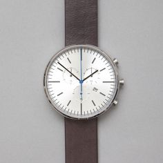 Uniform Wares 302 Series Chronograph Wristwatch in Brushed Steel / Brown Leather