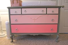 painted the base grey and the drawers ombre pink - girls bedroom
