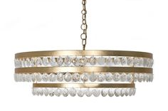 BRADLEY'S 'Tori' Chandelier with Gold Leaf iron finish and Natural Rock Crystals