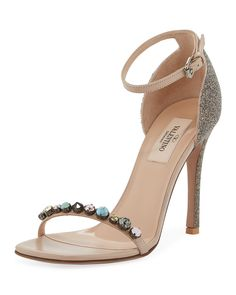 023d101dc068 VALENTINO JEWELED LEATHER ANKLE-STRAP SANDALS.  valentino  shoes