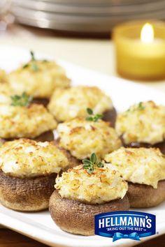 Mushrooms stuffed with crab - Recipes - Mushroom Recipes Italian Appetizers, Yummy Appetizers, Appetizers For Party, Appetizer Recipes, Appetizer Dishes, Dinner Recipes, Crab Recipes, Mushroom Recipes, Mushroom Meals