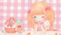 ✮ ANIME ART ✮ pastel. . .watercolor. . .bows. . .ribbons. . .chibi. . .teddy bear. . .gloves. . .flowers. . .cute. . .kawaii