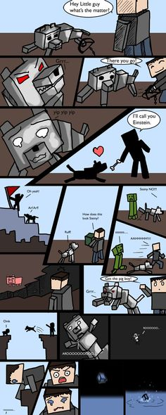 """Minecraft comic. At first when seeing, """"Get the pig boy"""" I thought that it was talking about a boy who looked like a pig."""