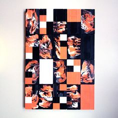 K7 - Lea Burrot #leaburrot #colors #vhstapes #artonvhstapes #painting #acrylic #acrylicpaint #shapes #abstract #abstractart #art #artinberlin #berlin #mosaic #blurred #squares #lovecolors #orange #black #white #artist #painter #optic #opart #liquid #liquidpaint