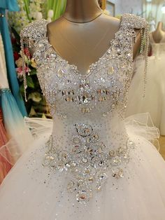Hand-sewn Crystal Wedding Dress GHH-010 USD369.66 ~ USD473.10, Click photo to Learn how to buy, follow board for more inspiration