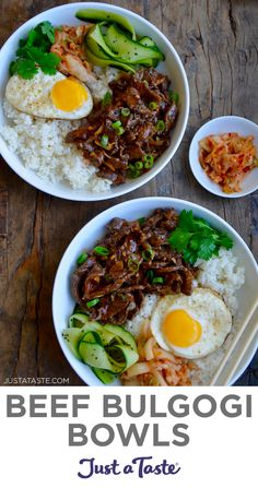 Beef Bulgogi is a Korean dish starring super-thin slices of beef marinated in the most flavor-packed mix of soy sauce, brown sugar, ginger and garlic. This make-ahead version is the ultimate meal in-a-bowl and is served with a fried egg on top. justataste.com #beefbulgogi #koreanrecipes #koreanbeef #makeaheadmeals #dinnerrecipes #justatasterecipes Lunch Recipes, Easy Dinner Recipes, Delicious Recipes, Beef Recipes, Real Food Recipes, Cooking Recipes, Korean Recipes, Korean Food, Make Ahead Meals