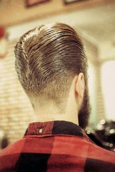 Long trim pompadour man haircut