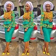 Creative Aso Ebi Skirt and Blouse Style http://www.dezangozone.com/2016/07/creative-aso-ebi-skirt-and-blouse-style.html