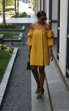 DIY off the shoulder exaggerated sleeve dress