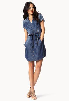 Chambray Shirt Dress | Standout Chambray Shirt Dress | LOVE21 - 2046311272