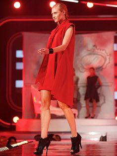 fashion star kara's red draped-tie dress
