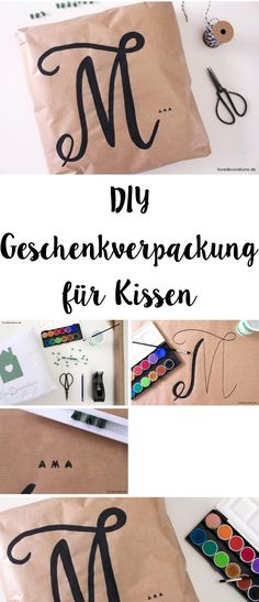 DIY Gift Wrapping for Pillows | DIY Geschenkverpackung für Kissen mit Lettering + Stempel