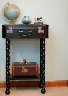Vintage Suitcase Table - unique Like this one. And the globe, and the Polaroid.