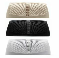 be72cd932d5 Black Satin Crystal Designer Flap Wedding/Party/Prom/Casual Clutch Silver &  Cham