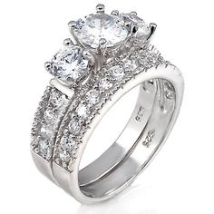 2 ct cz Past Present Future Bridal Wedding Ring Set .925 Silver