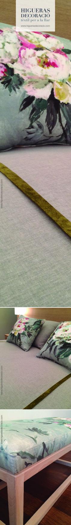 Utiliza los textiles de los cojines para dar un toque de color al dormitorio.  Utiliza la misma tela para tapizar la banqueta, silla, cabecera… Disfruta combinando diferentes tejidos de distintos colores y acabados. www.higuerasdecoracio.com