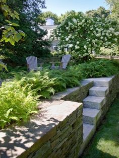 The landscape stairs integrate into the sculpture of the beautiful stone wall so well. Farlow Hill Residence - - - boston - by Matthew Cunningham Landscape Design LLC Hillside Landscaping, Modern Landscaping, Landscape Stairs, Landscape Design, Contemporary Garden Design, Garden Stairs, Garden Paths, Hill Garden, Garden Bed