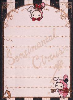 striped Sentimental Circus rabbit Shappo door mini Note Pad San-X 4