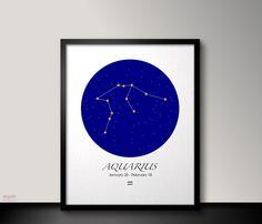 Aquarius zodiac art Printable Aquarius art Zodiac by RegainStudio