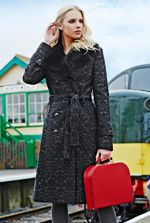 Deluxe By Lts: Fur Collar Jacquard Coat at Long Tall Sally