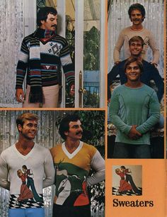 70's some of the 'trendy' sweaters for men. I LOVE the dancing couple sweater.