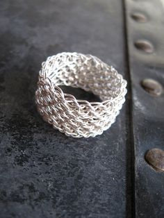 Silver Mesh Ring, hand crocheted fine silver.