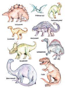 Dinosaur Room Decor, Dinosaur Crafts, Dinosaur Art, Watercolor Animals, Watercolor And Ink, Reptiles, Dinosaur Posters, Dinosaur Drawing, Young Animal