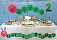 A Very Hungry Caterpillar Birthday Party - Dessert Table | by Made With Pink