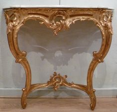 #Console #LouisXV #style in #giltwood, #carved and perforated, decorated with acanthus leaves. #Marble top. Late 18th century. For sale on Proantic by Galerie d'Intérieur.