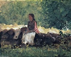 'Auf dem Zaun', gouache von Winslow Homer (1836-1910, United States)