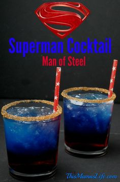 The Man of Steel is coming back to the big screen in Batman V Superman: Dawn of Justice. Coming to theaters March 25 Who do you choose? Superman Cocktail Man of Steel Ingredients: 1 oz Cherry Vodka 1 oz Coconut Vodka 1 oz Blue Curacao . Refreshing Cocktails, Fun Cocktails, Summer Drinks, Cocktail Drinks, Disney Cocktails, Man Of Steel, Steel Dc, Liquor Drinks, Cherry Vodka Drinks
