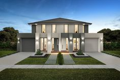 Riversdale facade (dual occupancy). Row House Design, Architect Design House, House Outside Design, Duplex House Design, Duplex House Plans, Dream House Plans, Low Country Homes, Big Architects, Modern House Facades