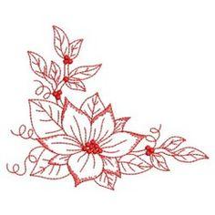Redwork Poinsettia Corner embroidery design