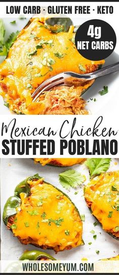 Feb 2020 - Keto Mexican Cheese & Chicken Stuffed Poblano Peppers Recipe - See how to make Mexican keto stuffed poblano peppers with simple ingredients, in just 30 minutes! This cheesy chicken stuffed poblano peppers recipe is full of taco flavors. Ketogenic Recipes, Low Carb Recipes, Diet Recipes, Healthy Recipes, Healthy Drinks, Ketogenic Diet, Easy Recipes, Recipes With Chicken And Peppers, Chicken Recipes
