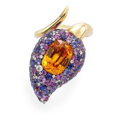 #Capri #Jewelers #Arizona ~ www.caprijewelersaz.com ♥ Spessartite garnet, sapphire and diamond ring