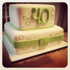 Lime green & white birthday cake :)