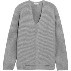 Acne Studios Deborah oversized ribbed wool sweater (€340) ❤ liked on Polyvore featuring tops, sweaters, sweatter, acne, oversized grey sweater, oversized sweaters, woolen sweater, white sweater and grey sweater