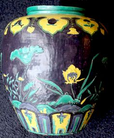 """Very large Chinese Fahua Jar - Ming Dy. 17"""" tall."""