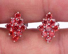 Noble ! Garnet Women Fashion Jewelry Gemstone Silver Stud Earrings 14mm FH3750