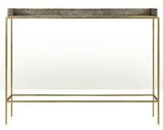 Brass Base Console Table with Faux Shagreen Tray Top