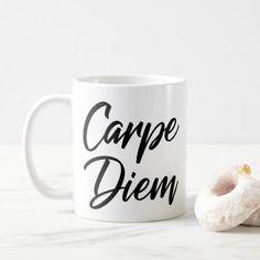 CARPE DIEM IN BLACK MUG Treat Yourself, Make It Yourself, Latin Quotes, Carpe Diem, Photo Mugs, Create Your Own, Funny Jokes, Bring It On, Joy